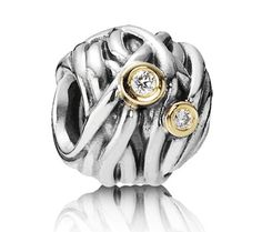 Pandora Silver 14ct Gold and Diamond Woven Together Charm 790568D