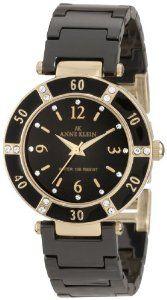 Anne Klein Women's 109416BKBK Swarovski Crystal Accented Gold-Tone Black Ceramic Watch : Disclosure: Affiliate link