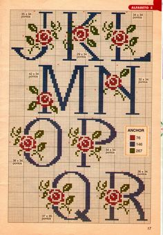 This Pin was discovered by Zül Cross Stitch Alphabet Patterns, Cross Stitch Letters, Cross Stitch Rose, Cross Stitch Borders, Cross Stitch Baby, Cross Stitch Flowers, Cross Stitch Charts, Cross Stitch Designs, Cross Stitching