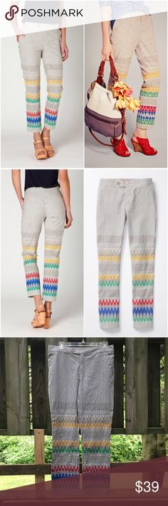 Anthropologie Cartonnier Stitched & Striped Pants Size 6. Brightly Embroidered bands lead the way up this playful pair by Cartonnier. Cotton, spandex. EUC $118 Anthropologie Pants