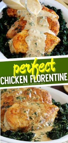 Easy Thanksgiving Dinner, Thanksgiving Recipes, Food Dishes, Main Dishes, Chicken Florentine, Italian Chicken Recipes, Perfect Chicken, Spinach Leaves, White Sauce