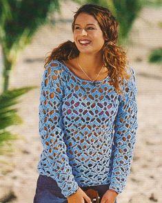 Modrý letní pulovr   - NÁVODY NA HÁČKOVÁNÍ
