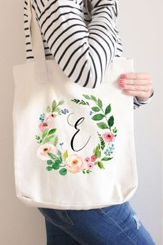 Bridesmaid Tote Bag Floral wreath name tote by instanttrends