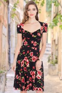 Vintage Chic Sweetheart Floral Black Dress 15532 1W