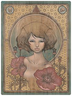 """Audrey Kawasaki :: I Know  oil and graphite on wood 18""""x24""""  Thinkspace Gallery """"In the Wake of Dreams""""  2011  paintings/iknow_lj.jpeg"""