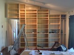 Billy bookcase being built in the lounge room.  Oct. 2013