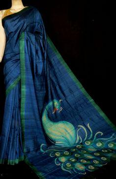 Hand Painted Saree on Tussar Silk