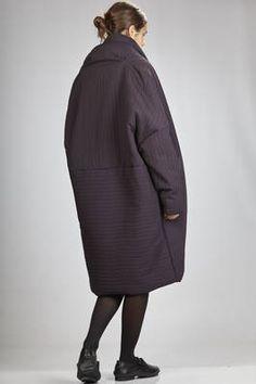 Shu Moriyama | long and wide coat in padded polyester cloth with irregular vertical and horizontal line texture | #shumoriyama
