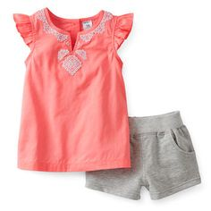 Carter's girls 2-Piece Embroidered Top & Short Set
