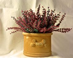Heather plant in a vase... but made of beads