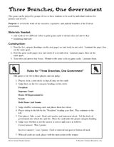 Three Branches, One Government Printable (5th - 8th Grade) - Game for practicing the roles of each section of government