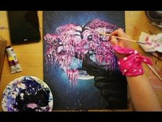 How to Paint a WEEPING CHERRY BLOSSOM TREE in the Moonlight on the Edge of a Cliff - STEP by STEP - YouTube