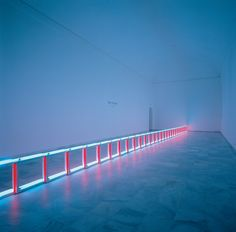 An artifical barrier of blue, red and blue fluorescent light (to Flavin Starbuck Judd) Flavin, Dan Conceptual art Installation Abstract Term on Designspiration Light Art Installation, Artistic Installation, Art Installations, Op Art, Dan Flavin, Lights Artist, Art Japonais, Light Images, Expositions