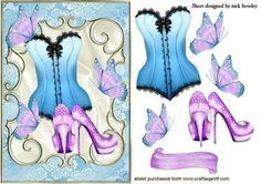 PRETTY BLUE BASQUE WITH LILAC SHOES AND BUTTERFLIES on Craftsuprint - Add To Basket!