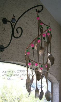 wind chime made from silver spoons and beads