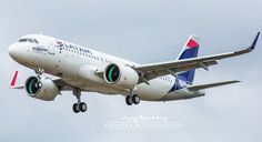 LATAM Brazil's premier Airbus A320-271neo returning from a pre-delivery flight
