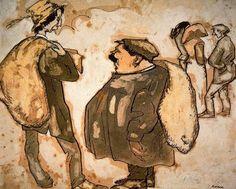 """""""Comercio de importación, 1909"""". Ploma, acuarela y gouache. 32,6 x 39,6 cms. Gabinete de Dibujos y Grabados del MNAC, Barcelona. España."""