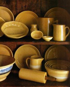 Yellow-ware Collection / Yes, even a rolling-pin. Antique Stoneware, Earthenware, Antique Dishes, Yellow Cottage, Vintage Bowls, Vintage Crockery, Vintage Pyrex, Vintage Items, Mixing Bowls