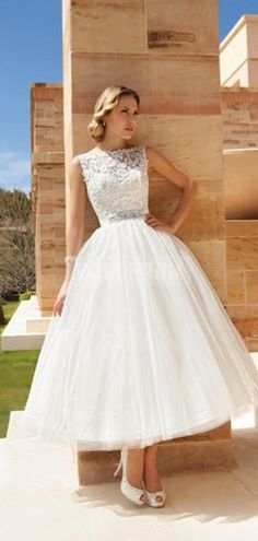 Bateau Neckline Tea-length V-back Lace Bodice Vintage Wedding Dress
