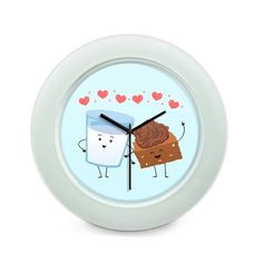 BigOwl   Cake And Milk Cute Illustration  Table Clock Online India at BigOwl.in