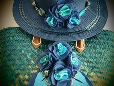 SALE - Hat and Beach Bag Set / Decorated with Handmade Felt Flowers and Beads on Etsy, $45.00
