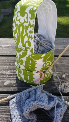 Yarn Bag, Knitting Wristlet, Knitter's gift, Green, Accessories Pocket by LittleFoxCreates on Etsy Pin now, buy later!