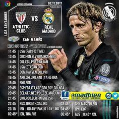 #madbien Horarios  Liga Santander  Athletic Club  02/12/17  Santiago Bernabéu  Canales #USA BeIN Sports.  #Centroamérica TDN. #México TDN. #Sudamérica ESPN 2.  #España: Movistar Partidazo