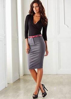 ♕ Executive Time ♕ Gray Pencil Skirt Black Blouse and Black High Heels Grey Pencil Skirt, Pencil Skirt Outfits, High Waisted Pencil Skirt, Pencil Dresses, Gray Skirt, Clubbing Outfits, Sexy Outfits, Dress Outfits, Fashion Dresses
