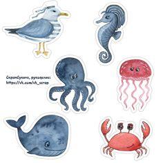 Картинки на морскую тему, высечки, кораблики, медуза, кит, краб, чайка