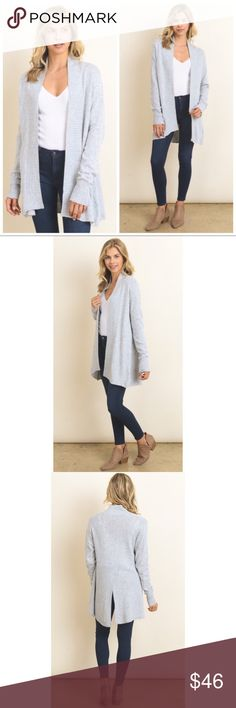 Gray Oversized Cardigan Sweater S M L Gray oversized cardigan sweater, rib trim, Available in size small, medium, or large.  ARRIVING TUESDAY/SHIPPING WEDNESDAY!  No Trades, Price Firm unless Bundled.  BUNDLE 3 OR MORE ITEMS FOR 15 % OFF. Boutique Sweaters Cardigans