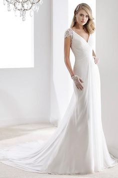 Wedding Dress Lace, Elegant Chiffon V-neck Neckline Sheath Wedding Dresses With Embroidery, Unique and inexpensive wedding gowns that wow! Shop our wedding dresses online and in-store for top styles and trendy bridal looks. Plain Wedding Dress, Making A Wedding Dress, Sexy Wedding Dresses, Wedding Dress Sleeves, Wedding Dresses Plus Size, Designer Wedding Dresses, Bridal Dresses, Bateau Wedding Dress, Sheath Wedding Gown