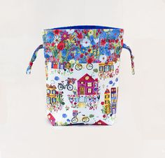 Knitting Project Bag Spring Themed Bicycle theme floral