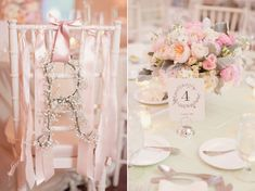 bride's chair decorated with ribbon and a baby's breath initial