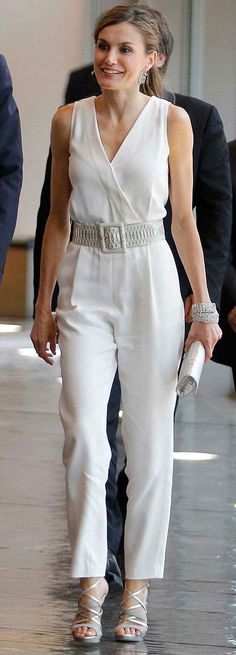 Queen Letizia - white Elogy jumpsuit - Felipe Varela bag - Magrit sandals - cartier bracelets - Yanes earrings