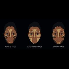 face contour guide: how to contour your face for black women Gorgeous Makeup, Pretty Makeup, Love Makeup, Beauty Makeup, Makeup For Black Skin, Black Girl Makeup, Girls Makeup, Contour Makeup, Contouring And Highlighting