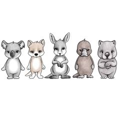Pre order for a LATE JANUARY delivery. Meet the Aussie mates! They are unique animals from the land of Australia. Lala the Koala, King the Kangaroo, Darwin the Wombat, Wall Transfers, Australian Animals, Australian Nursery, Australian Party, Five Friends, Platypus, Painting Wallpaper, Forest Friends