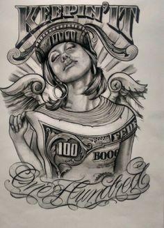 dollar impression on girl #chicano art