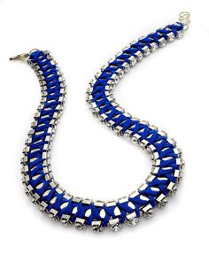 Bar III Necklace, Gold Tone Rhodium-Plated Blue Chiffon Crystal Necklace -Macy's