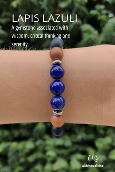 Lapis Lazuli is thought to boost your intuition and expand your mental awareness, showing you how to access inner knowledge and power. #allkindsofkind #gemstonebracelets Allergy Free, Gemstone Bracelets, Lapis Lazuli, Intuition, Allergies, Knowledge, Gemstones, Handmade, Hand Made