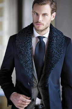 Layers. Fashion. Men. Proper. Dressed. Suit & Tie. Great Look. Outfit. Clean. Fresh. Groomed. Clothing. Grey & Blue. Collar. Fur. Classy. Men. Slim. Fit. Handsome. Design. Clean. Cut.