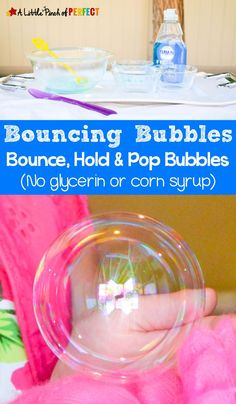 Homemade Bouncing Bubbles Recipe (No glycerin or corn syrup) – Homemade Bouncing Bubbles Recipe (No glycerin or corn syrup) -,for the kids DIY Bouncing Bubbles Recipe A Little Pinch of Perfect Toddler Fun, Toddler Crafts, Fun Crafts For Kids, Diy For Kids, Fun Recipes For Kids, Summer Fun For Kids, Outdoor Games For Kids, Diy Unicorn, How To Make Bubbles