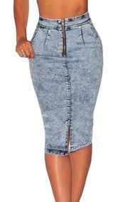 Stylish High Waist Zipper Design Light Blue Cotton Blend Sheath Knee Length Skirts