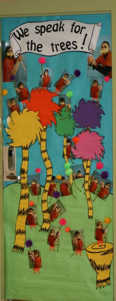 Dr Seuss door decorating contest.  Lorax theme.