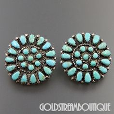Native American Vintage Navajo Zuni Sterling Silver Turquoise Petit Point Round Cluster Earrings