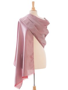 Formal looking fine silk shantung in a feminine shade of rose pink will add classic refinement to your look. This slightly iridescent rose pink silk wrap has hand rolled and sewn edges adding to it's uniqueness and value. Velvet Shawl, Pink Shawl, Cashmere Shawl, Pink Scarves, Pashmina Shawl, Pink Silk, Shawls And Wraps, Sewing Clothes, Scarf Styles