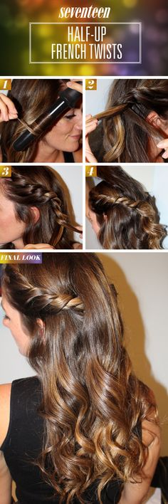 Romantic Half Up French Twists How To - Romantic Half Up Hairstyle Tutorial - Seventeen