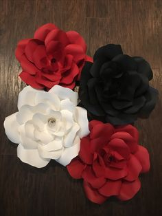 Black gold and silver paper flowers for backdrop pinterest red white and black paper roses mightylinksfo