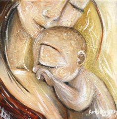 madre y bebé piel dorada abrazar - consuelo - impresión de arte archivo maternidad firmada de 12 x 12
