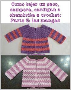 Cómo tejer un saco, campera, cardigan o chambrita a crochet o ganchillo paso a paso: 3º Parte – Cómo tejer las mangas
