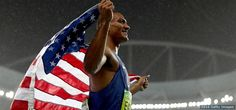 Ashton Eaton, Track and Field:      Ashton Eaton celebrates winning gold in the men's decathlon at the Rio 2016 Olympic Games at the Olympic Stadium on Aug. 18, 2016 in Rio de Janeiro.       - The Best Photos From Rio 2016: Aug. 18 Edition